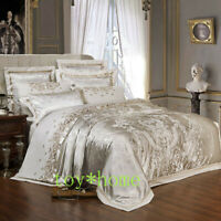 Sliver Gold Silk Satin Jacquard Duvet Cover Bedding Set Embroidery Sheet/Fitted