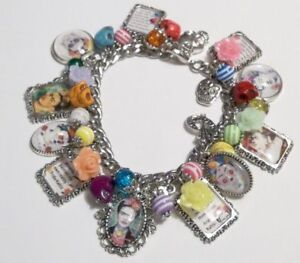 Frida Kahlo Roses Skulls DOD Quotes Colorful Charm Bracelet Hand Crafted