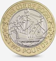 2011 £2 MARY ROSE 500TH ANNIVERSARY TWO POUND COIN HUNT 22/32 RARE BI-METAL 2 zz