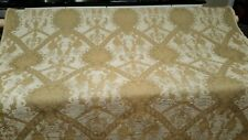 """Chenille gold/taupe damask floral scroll drapery/upholstery fabric 55"""" 13yds Bty"""