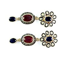 Natural Ruby,Sapphire Gemstone With Polki Diamond Earring Victorian 925 Silver