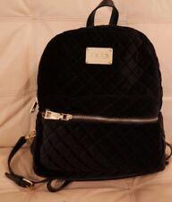 NEW WT BEBE  large BLACK VELVET QUILTED BACKPACK BOOK BAG PURSE E07-711