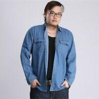 Men Denim Shirt Long Sleeve Jean Top Shirt Cotton Oversized Loose Casual Classic