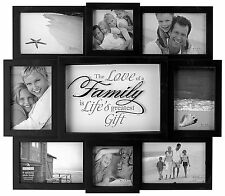 Hanging Wall Decor Family Picture Frame Collage Wood Home Black White
