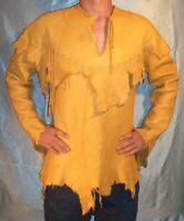 Old Look Men Western Golden Tan Ragged Leather Mountain Man Shirt MS296