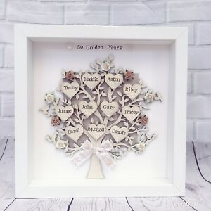 50th Golden Wedding Anniversary personalised Family Tree Grandparents Gift