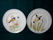 """Vintage Pair 1977 Fitz and Floyd Set of Oiseau Bird Plates 7.5"""" Salad Plates"""