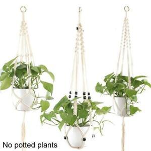 Macrame Plant Hanger Indoor Hanging Garden Planter Basket Flower Pot Rope Holder