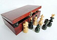 NUOVO Verde REALIZZATO A MANO IN LEGNO PEDINE/pezzi in scatola di immagazzinaggio fatti a mano marrone