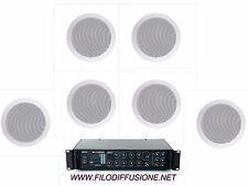 Sistema filodiffusione audio 6 diffusori da incasso amplificatore 6 zone combi