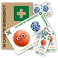 ICE IN CASE OF EMERGENCY autism child PACK  1 ICE CARD 2 KEYRINGS 2 STICKERS