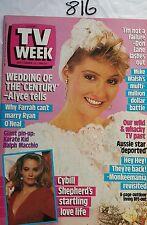 TV WEEK 1986 SEP 13,ALYCE PLATT,COUNTRY PRACTICE,FARRAH FAWCETT,MAGNUM PI,N/M