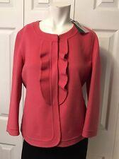 NWT $249 Talbots Grace Fit Felted Wool Jacket Blazer Size 10 3/4 Sleeve Ruffle