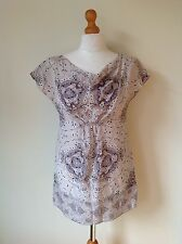 MINT VELVET LADIES GREY FLORAL 100% SILK TOP SIZE 8