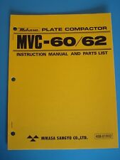 MQ Mikasa Plate Compactor MVC-60/62 Instruction and Parts List Manual
