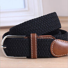 POP Men Woven Stretch Braided Elastic Faux Leather Buckle Belt Waistband ColorPB