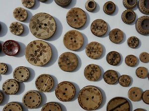 10 verschiedene Knöpfe Knopf Kokosnussknopf Holzknopf Holzknöpfe Larp Trachten