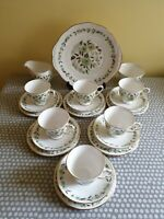 Vintage Colclough Green Poppies. 6 x Trios Cup, Saucer & Plate + Sandwich Plate