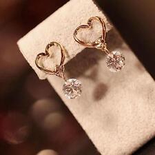 Fashion Girl Gold Tone Love Heart Crystal Zircon Dangle Ear Pins Eardrop Earring