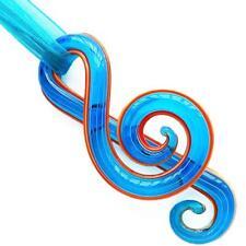 Aqua Musical Note Handmade Lampwork Glass Murano Bead Pendant Ribbon Necklace