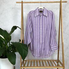 Vintage 70s Size M Men's Purple White Stripe Spread Collar Button Up Shirt