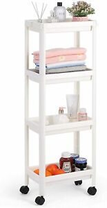 4-Tier Mobile Shelving Unit Bathroom Rolling Cart Laundry Room & Dressers, White