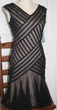London Times Cocktail Dress Black/Nude Size 4 New