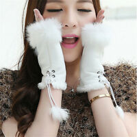 Women's Real Rabbit Fur Hand Wrist Warmer Fingerless Winter Gloves