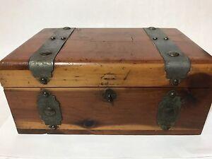 Vintage Wooden Metal Banded Jewelry Trinket Box Treasure Chest