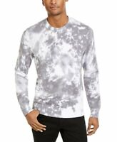 INC Mens Sweater Gray Pure White Size 2XL Crewneck Tie Dye Rib Trim $69- 215