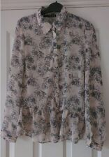 Ladies Long Sleeve Formal Floral Blush Chiffon Frill Bottom Button Blouse New