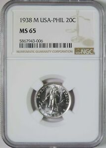 1938 M US Philippines 20 Centavos Silver Coin NGC Graded MS65 GEM Uncirculated