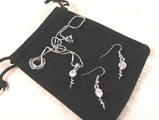 Austrian Crystal 18k White Gold Plated Thunderbolt Necklace & Earrings Set
