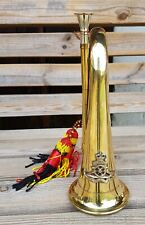 More details for military solid brass bugle with royal artilery badge music band army soldier