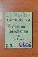 BIGLIETTO TRENO - FERROVIE - TRAIN TICKET - 1957 - CHIASSO GOSCHENEN (B2)