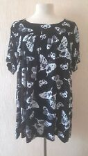 NEW LADIES BUTTERFLY BLACK WHITE SMOCK TOP TUNIC PLUS SIZE 18-32 made in UK
