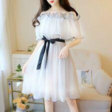 Women Chiffon Dress Ruffle Off Shoulder Fairy Casual Swing Mini White Summer New