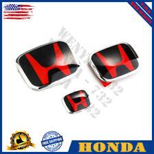 3× Honda Accord Sedan 4Dr 18-20 Black Red JDM H Front Rear Steering emblem Set