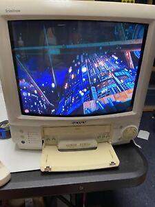 Vintage WHITE Sony KV-13VM21 Trinitron TV VCR Combo Retro Gaming CRT WORKS Remot
