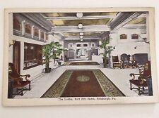 Pittsburgh PA Postcard Fort Pitt Hotel Lobby Pennsylvania E O Kropp