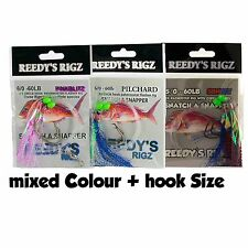 10 Snapper Jigs Bait Fishing Lure Mixed Hook Size 4/0 2 6/0 Mixed Colour Rig