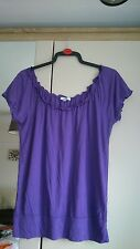 Women's size 14 purple top, frilly elasticated neckline, elasticated hem, used