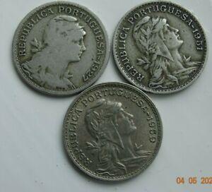 Portuguese (3) 50 Centavos Coins 1927- 1951- 1959