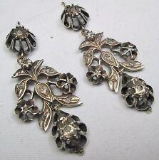 Antique Georgian 9ct Gold, Silver Diamond Chandelier Pendeloque Pendant Earrings