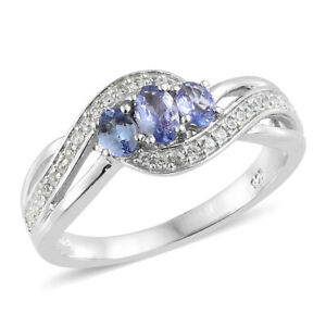 Tanzanite, Cambodian Zircon Platinum Over Sterling Silver Bypass Ring Size 10