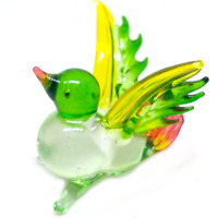 Happy bird #1 hand blown clear glass miniature figurine crystal dollhouse animal