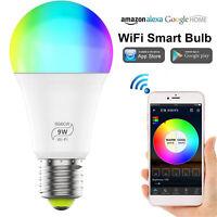 Smart LED Light Bulb E27 9W WiFi RGB Dimmable Voice Control Colorful Home Decor