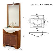 MOBILE BAGNO CLASSICO arte povera con lavabo in ceramica, specchio e luce 85 cm