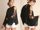 S-2X Black UMGEE Floral Embroidered Open Shoulder Long Bell Sleeve Blouse Top