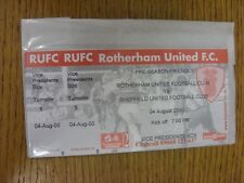 04/08/2000 Ticket: Rotherham United v Sheffield United [Friendly] (Vice Presiden